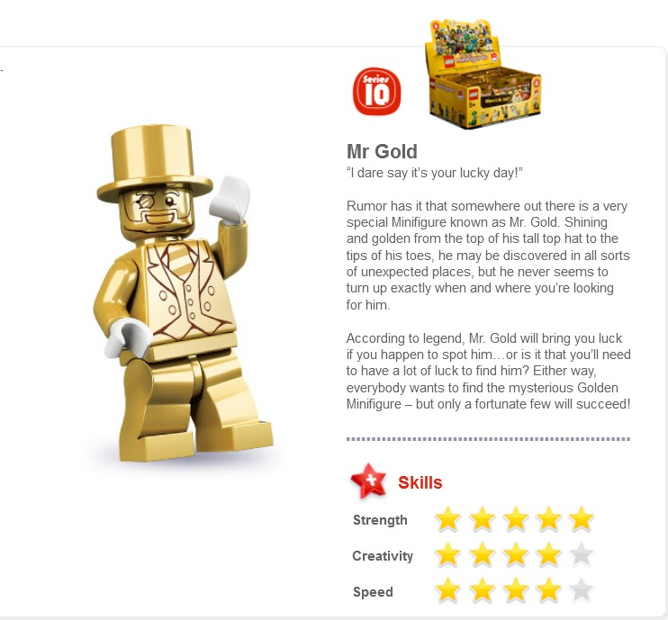 Lego Mr Gold Registry of Found Figures Recreated since Lego Pulled ...