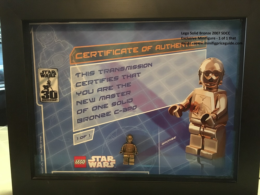 Lego Solid Bronze c-3po Minifigure 1 of 1 SDCC 2007 Star Wars 30th Anniversary Certificate - Copy