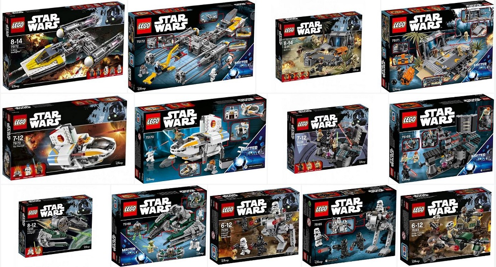 lego 2017 star wars set boxes front and some backs | minifigure