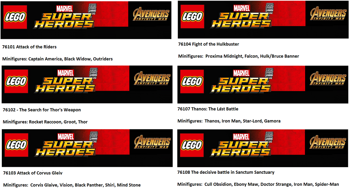 Super Heroes Infinity War 76101 76103 76104 LEGO 5 x Outrider Minifigures
